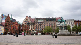 MALMO, SWEDEN - MAY 31, 2017: Stortorget square with the equestrian statue of King Karl X Gustav, Malmo, Sweden.  Stock Images