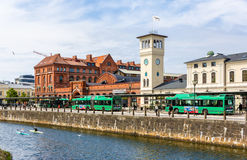 MALMO, SWEDEN - MAY 31: View of the Central Railway Station on M. Ay 31, 2014 in Malmo, Sweden. The station serves 17 million passengers per year Stock Photography