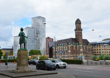 MALMO, SWEDEN - MAY 31, 2017: view of the statue of Swedish businessman Frans Suell keep watch on Malmo city. From Norra Vallgatan street, Malmo, Sweden Royalty Free Stock Image