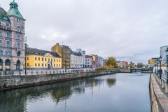 MALMO, SWEDEN - 23 OCTOBER 2016: Different architectural perspectives in the city center of Malmo, Sweden.  Royalty Free Stock Images