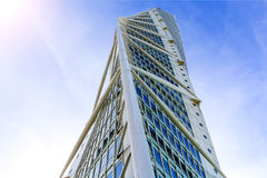 MALMO, SWEDEN - OCTOBER 2: Turning Torso facade on October 2 , 2015 in Malmo, Sweden. Turning Torso is a deconstructionist skyscraper designed by the Spanish Royalty Free Stock Photography