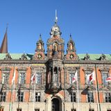 Malmo. Sweden - the Town Hall. City in Scania county (Skane in Swedish) and Oresund region. Square composition Royalty Free Stock Photography