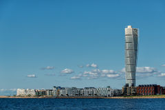 Malmo, Sweden. August 20, 2013: The west harbor area with the iconic skyscraper Turning Torso in Stock Photography