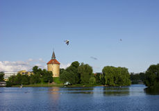 Malmo, swedish. Sity landscape with towel, park,  lake and flying gull Stock Photography
