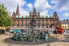 Malmo Town Hall. During preparations for The Malmo Festival annual event on August 11, 2014 in Malmo, Sweden. The hall was built in 1546 in the Gothic style Stock Images