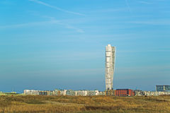 Malmo Turning Torso and cityscape. MALMO, SWEDEN - DECEMBER 21, 2015: Malmo West Harbor area cityscape with Turning Torso as distinctive landmark with its 190 m Stock Image