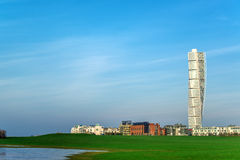 Malmo Turning Torso and cityscape. MALMO, SWEDEN - DECEMBER 31, 2015: Malmo West Harbor area cityscape with Turning Torso as distinctive landmark of this Swedish Royalty Free Stock Image