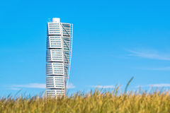 Malmo Turning Torso, Distinctive City Landmark. MALMO, SWEDEN - JUNE 26, 2015: Malmo Turning Torso, Distinctive Swedish City Landmark and Tallest Building in Royalty Free Stock Photo