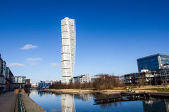 Malmo Turning Torso. MALMO, SWEDEN - FEBRUARY 26 , 2016: Malmo Turning Torso, most famous skyscraper in Scandinavia. Designed by Spanish Neo-Futurist architect Stock Images