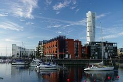 Malmo Western Harbor. District is an urban renewal project that combines cutting edge modern architecture a with a focus on sustainable development Stock Photography