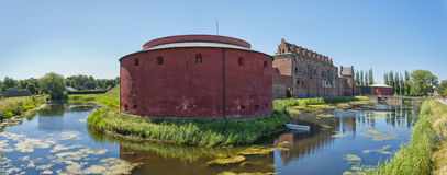 Malmohus castle panorama 01. A panoramic image of the historic castle of malmohus situated in the swedish city of Malmo Stock Photo