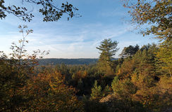 Malmontagne mound in  Fontainebleau forest. Autumn in French Gâtinais Regional Nature Park Stock Photos