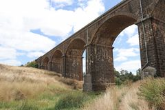 The Malmsbury viaduct 1860 is 152 metres long and made of loca. Lly sourced bluestone Stock Image