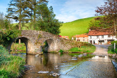Malmsmead Bridge on Exmoor National Park. The bridge and ford at  Malmsmead in the Doone Valley directly on the border between Somerset and Devon and on Exmoor Stock Photo
