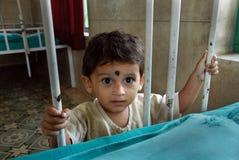 Malnourished Children in India. May 03, 2011-ThakurPukur,Kolkata, West Bengal,India -A girl child in a hospital of Kolkata Stock Photos