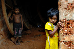 Malnourished Children in India. August 24, 2012 Dhani Village,Orissa,India,Asia- Malnourished children at the remote village of Orissa-India Royalty Free Stock Photos