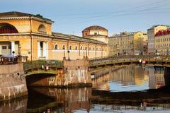 Malo-Koniushennyi bridge through Moyka River. In Saint Petersburg. Russia Stock Photo