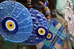 Malocchi, occhi azzurri degli amuleti Fotografia Stock Libera da Diritti