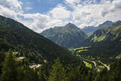 Maloja Pass, high mountain pass in the Swiss Alps Royalty Free Stock Images
