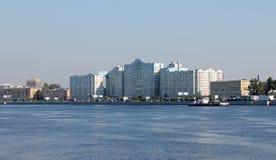 View of Maloohotskaya embankment. St. Petersburg. royalty free stock image