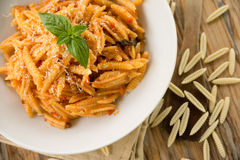 Maloreddus with ragout and cheese Royalty Free Stock Photo