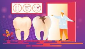 Malos dientes con las caries Desease venido en procedimiento stock de ilustración