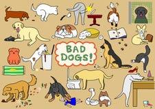 Malos perros fijados stock de ilustración