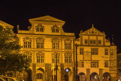 Malostranska square,Prague. Houses on Malostranska square in Prague at night Royalty Free Stock Images