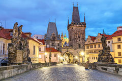 Malostranska tower on Charles bridge in Pragu Royalty Free Stock Photo