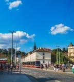 Malostranska tramwajowa przerwa w Praga, republika czech fotografia stock