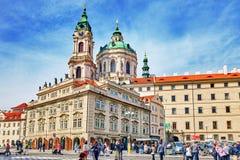 Malostranske namesti-main square of Prague. PRAGUE, CZECH REPUBLIC-SEPTEMBER 5, 2015: Malostranske namesti-main square of Prague's Mala Strana(Lesser Town of Royalty Free Stock Images