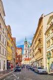 Malostranske namesti-main square of Prague. PRAGUE, CZECH REPUBLIC-SEPTEMBER 5, 2015: Malostranske namesti-main square of Prague's Mala Strana(Lesser Town of Royalty Free Stock Photo