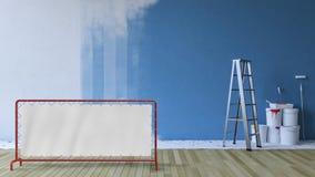 Malować ściennego błękit w pustym pokoju Fotografia Royalty Free