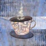 Malować deseniować filiżanki parująca kawa lub herbata Zdjęcia Stock