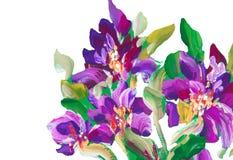 Malować kwitnie na tle Obraz olejny, impresjonista ilustracja wektor