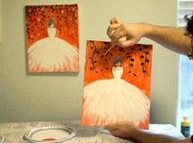 Malować partyjną demonstrację w domu Zdjęcie Royalty Free