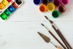 Malować set: muśnięcia, farby, akwarela, akrylowa farba na wh Obraz Royalty Free