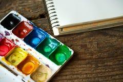 Malować set: tapetuje, muśnięcia, farby, akwarela, akrylowa farba Obraz Royalty Free