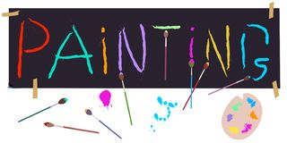 Malować set: wręcza pisać literowanie, muśnięcia, artysty ` s paleta wektor ilustracji