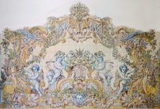 Malować stare ceramiczne płytki na ścianie w dworcu, sintra, Portugalia obraz royalty free