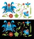 Malować ustawiam elementów liście i kwiaty Zdjęcia Royalty Free