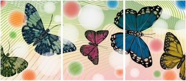 Malować z motylami Set kilka obrazki Zdjęcie Royalty Free