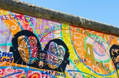 Malowidła ścienne na Berlińskiej ścianie Zdjęcia Royalty Free