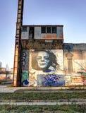 Malowidła ścienne na starej fabryce Obrazy Royalty Free