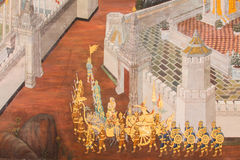 Malowidła ścienne przy Watem Phra Kaew Obrazy Stock