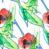 Malowidła ściennego tła bezszwowa deseniowa makowa tekstura Zdjęcie Royalty Free