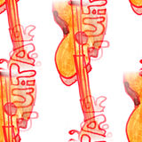 Malowidła ściennego tła gitary bezszwowa deseniowa tekstura Obraz Stock