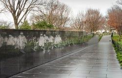 Malowidło ścienne ściana - wojna koreańska weteranów washington dc Zdjęcia Stock