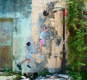 Malowidło ścienne ścienny obraz w Georgetown, Malezja zdjęcia stock