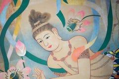 Malowidło ścienne antyczna dziewczyna na ścianie obraz royalty free